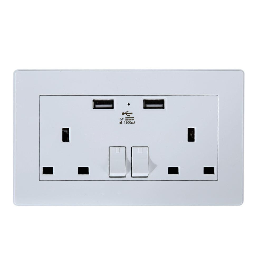 UK Wall Socket USB Plug Double Power Outlet 13 Amp Charger 2-Gang Electric Port eBay