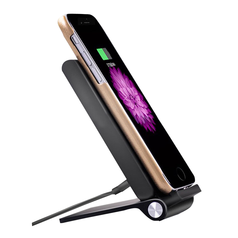 3 coils qi wireless charger foldable charging stand dock. Black Bedroom Furniture Sets. Home Design Ideas