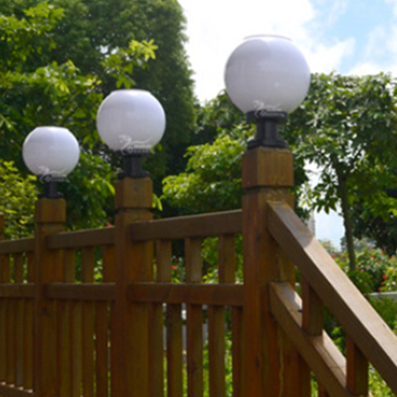 Outdoor Solar Power LED Path Wall Landscape Mount Garden Fence Lamp Round Light eBay