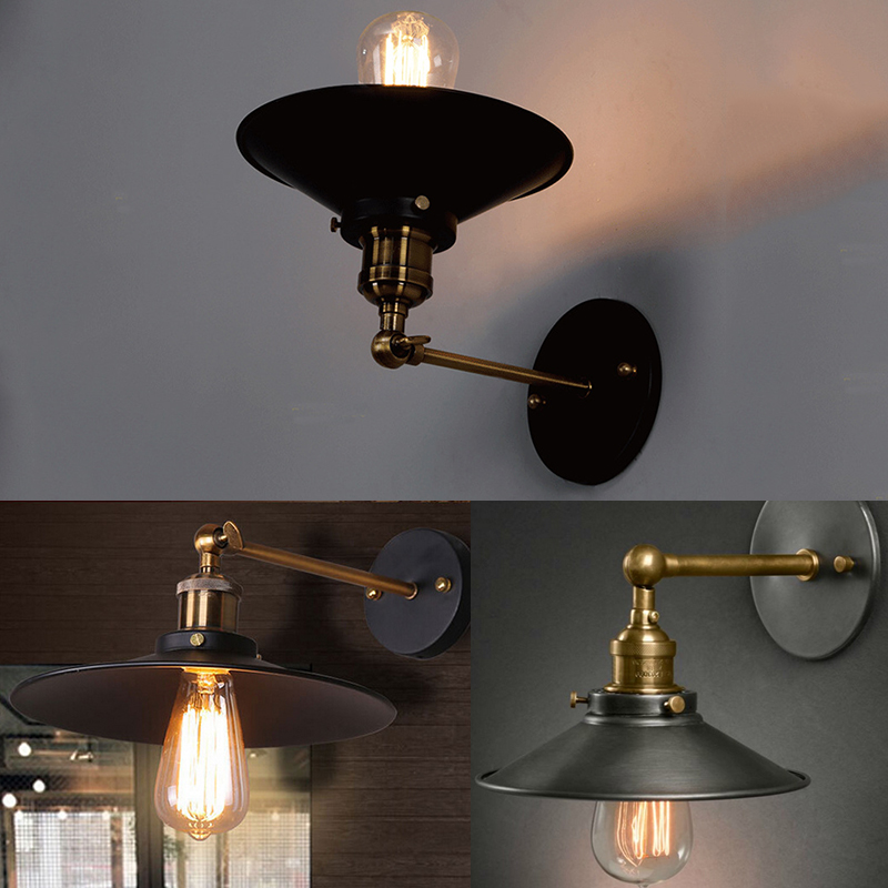Industrial Wall Light Shades: New Modern Vintage Industrial Antique Brass Black Scone