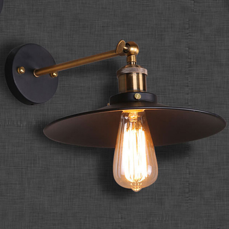Led Wall Lamp Shades : Modern LED Vintage Industrial Antique Brass Black Scone Wall Light Lamp Shades eBay