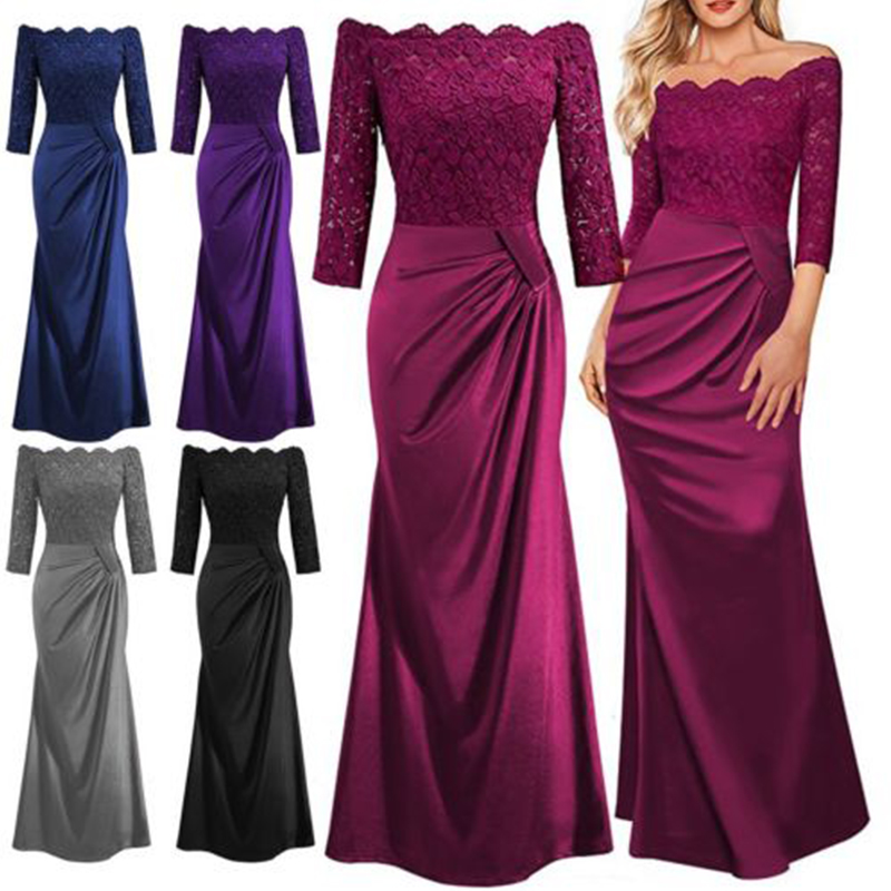 UK Womens Lace Long Formal Wedding Evening Ball Gown Party Prom ...