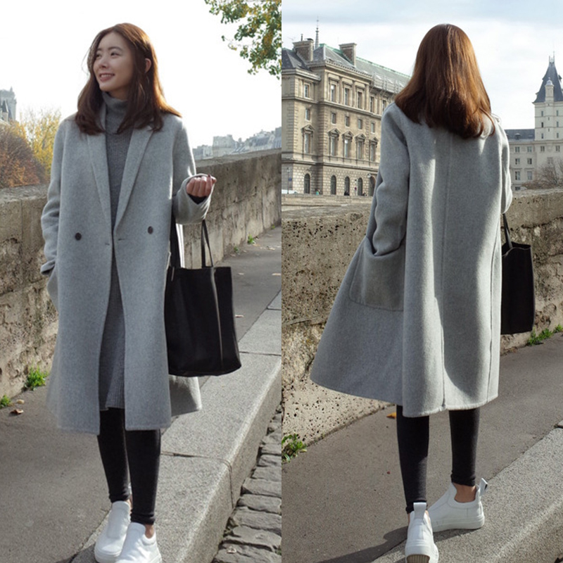 5ff4dbd30fe Winter Warm Women Girl Wool Lapel Long Coat Trench Parka Jacket ...