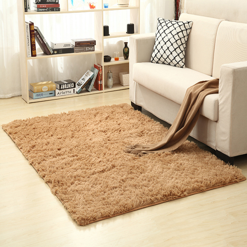 New soft plain shaggy mats washable non slip large small for Living room yoga sessions