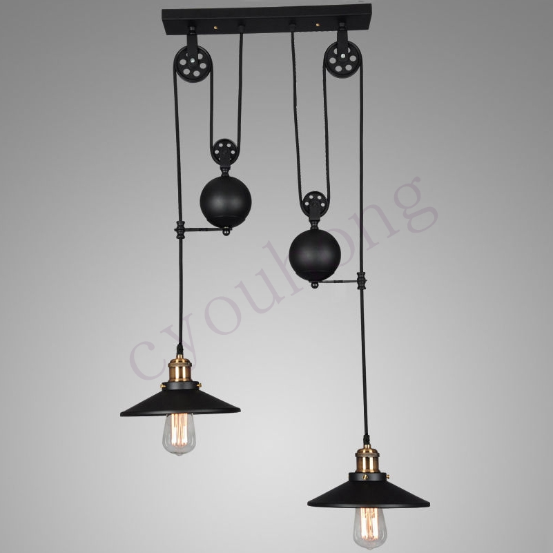 Vintage industrial hanging pulley pendant lights retro retractable vintage industrial hanging pulley pendant lights retro retractable mozeypictures Image collections