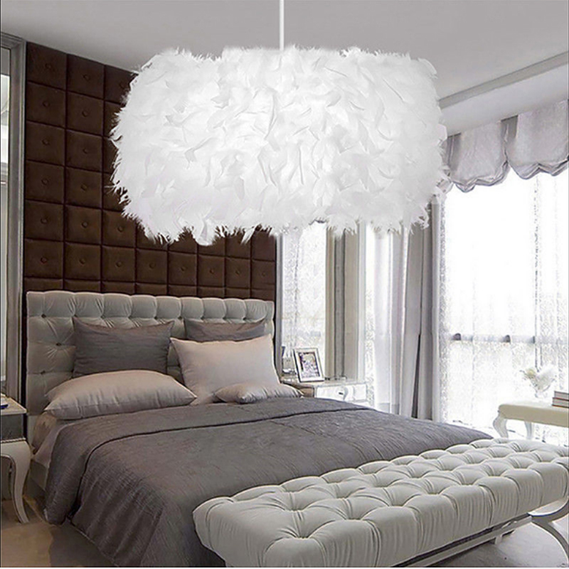 Details About White Feather Shade Droplight Lamp Bedroom Led Ceiling Light 40cm